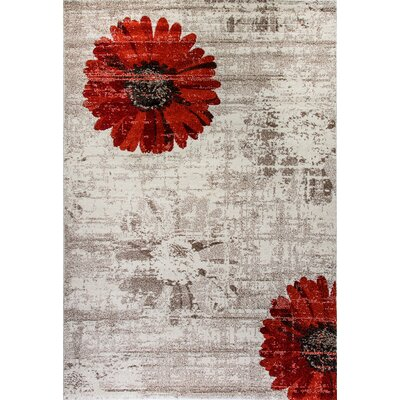 Martin Ivory/Red Area Rug Rug Size: Rectangle 67 x 96