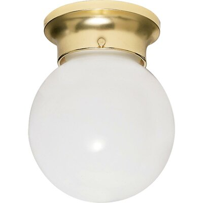 Barrientos 1-Light Semi Flush Mount Finish: Polished Brass, Size: 7.25 H x 6 W x 6.75 D