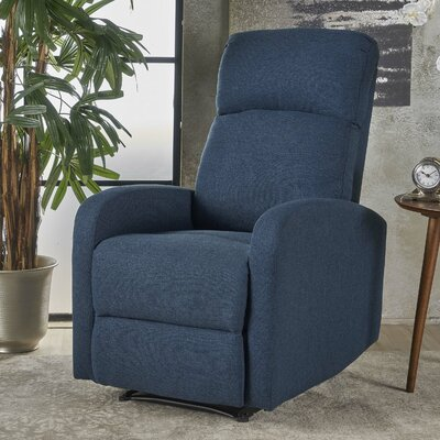 Dunkley Manual Recliner Color: Navy Blue