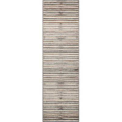 Brady Ivory/Gray Area Rug Rug Size: Runner 22 x 73