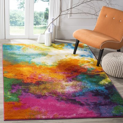 Ciara Orange/Green Area Rug Rug Size: Rectangle 67 x 9