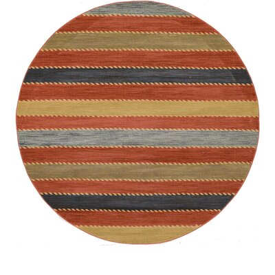 Bishop Red Area Rug Rug Size: Round 8