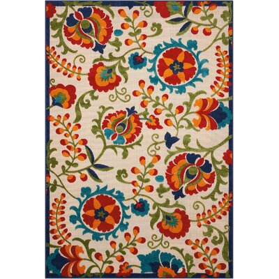 Donohoe Beige/Green Indoor/Outdoor Area Rug Rug Size: Rectangle 53 x 75