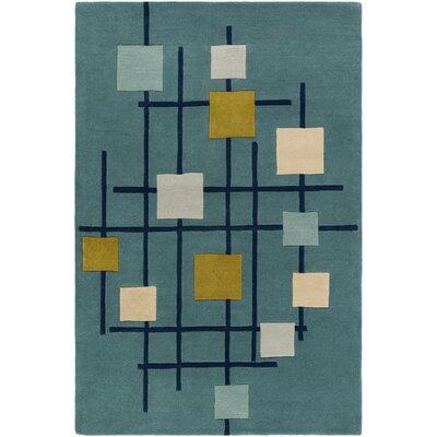 Dewald Hand-Tufted Teal Blue Area Rug Rug Size: Rectangle 5 x 8