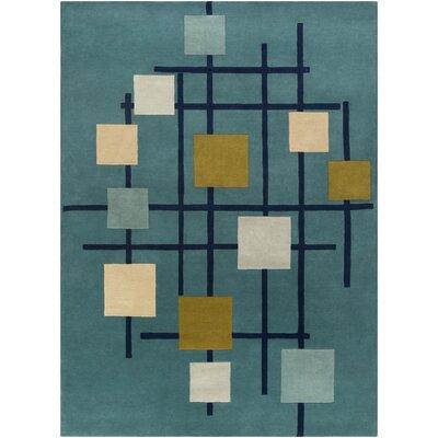 Dewald Hand-Tufted Teal Blue Area Rug Rug Size: Rectangle 8 x 11