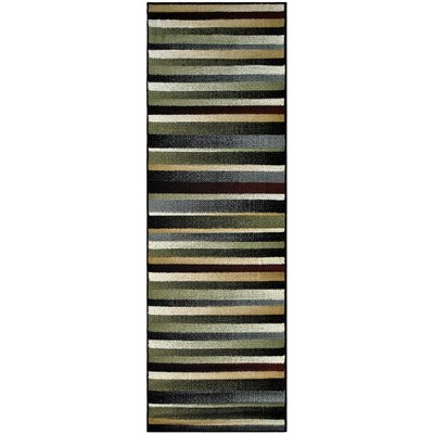 Azaleh Corona Black/Gray Area Rug Rug Size: Runner 27 x 8
