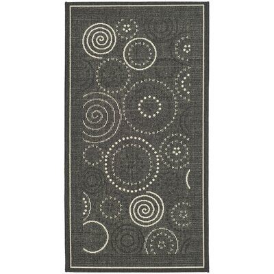 Mullen Black/Sand Circle Outdoor Rug Rug Size: Rectangle 27 x 5