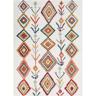 Elissa Boho White/Orange Area Rug Rug Size: Rectangle 53 x 73