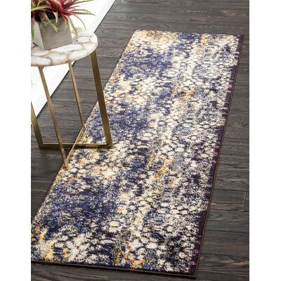 Alkire Navy Blue Area Rug Rug Size: Runner 2 x 67