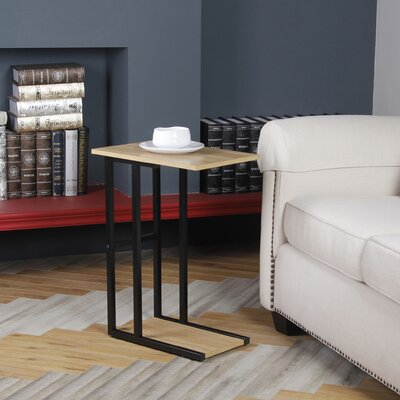 Bonynge End Table Table Base Color: Black, Table Top Color: Wood