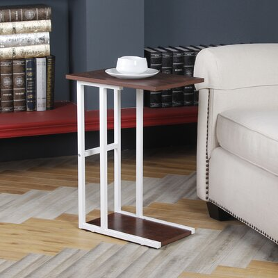Bonynge End Table Table Base Color: White, Table Top Color: Walnut