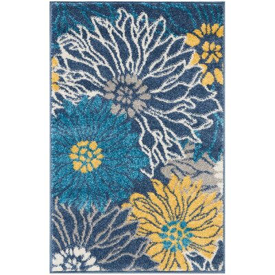 Cloutier Blue Area Rug Rug Size: Rectangle 110 x 210