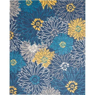 Cloutier Blue Area Rug Rug Size: Rectangle 8 x 10