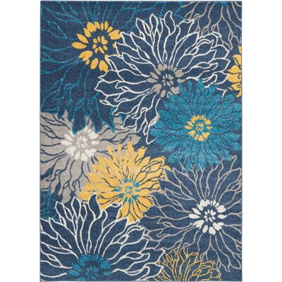 Cloutier Blue Area Rug Rug Size: Rectangle 53 x 73