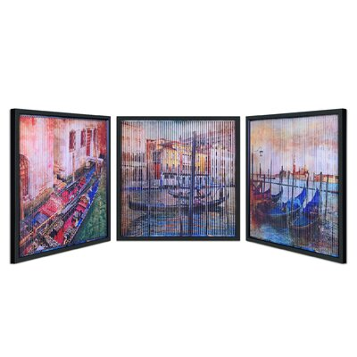 'Gondolas' 3 Piece Framed Graphic Art Print Set on Canvas 4DC0617B206840CA8E2847B6B11CD903