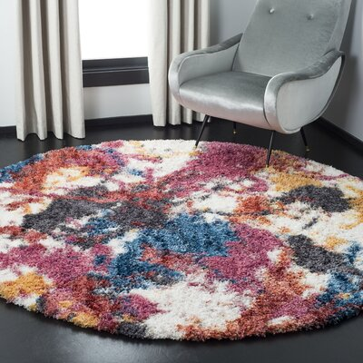 Delma Ivory/Blue Area Rug Rug Size: Round 67