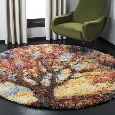 Delma Power Loom Rust/Blue Area Rug Rug Size: Round 67