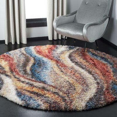 Delma Rust/Blue Area Rug Rug Size: Round 67