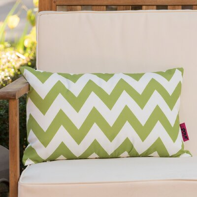 Mayhew Rectangular Outdoor Lumbar Pillow Color: Green/White