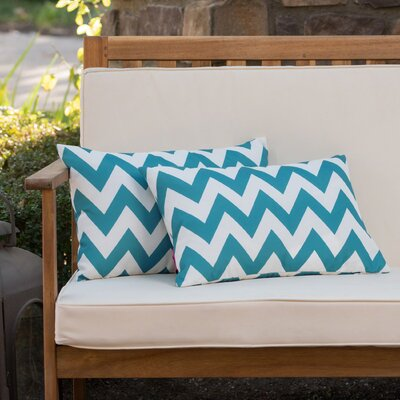 Mayhew Rectangular Outdoor Lumbar Pillow Color: Dark Teal/White