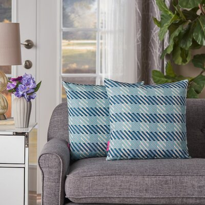 Maysonet Plaid Square Indoor/Outdoor Throw Pillow