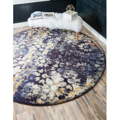 Alkire Navy Blue Area Rug Rug Size: Round 4 x 4