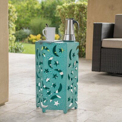 Dye Outdoor 14 Inch Hexagonal Side Table Color: Teal