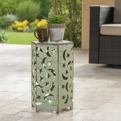 Dye Outdoor Hexagonal End Table Color: Green, Size: 18.25 H x 12 W x 10.5 D