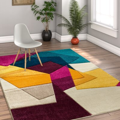Herring Mid-Century Modern Violet Geometric Area Rug Rug Size: Rectangle 311 x 53