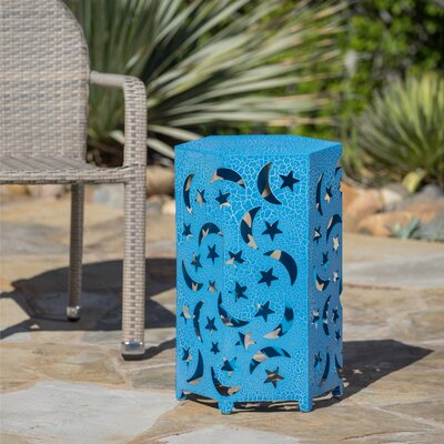 Dye Outdoor 14 Inch Hexagonal Side Table Color: Blue