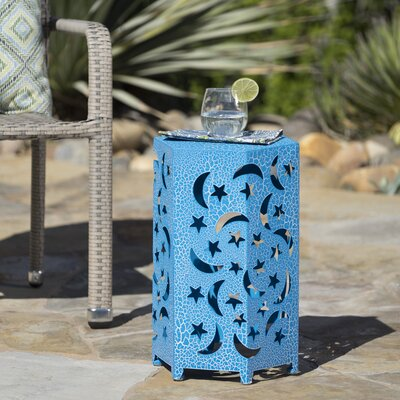 Dye Outdoor Hexagonal End Table Color: Blue, Size: 22 H x 14.25 W x 12.5 D