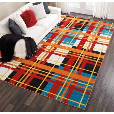 Quattrucci Red/Orange Area Rug Rug Size: Rectangle�92 x 12