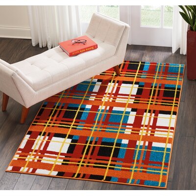 Quattrucci Red/Orange Area Rug Rug Size: Rectangle�4 x 6