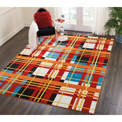 Quattrucci Red/Orange Area Rug Rug Size: Rectangle�710 x 10