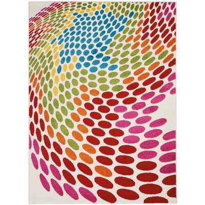 Quattrucci Red/Pink/Green Area Rug Rug Size: Rectangle�53 x 73