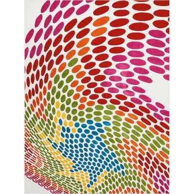Quattrucci Red/Pink/Green Area Rug Rug Size: Rectangle�92 x 12