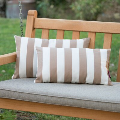 Mayne Rectangular Striped Outdoor Lumbar Pillow Color: Brown/White