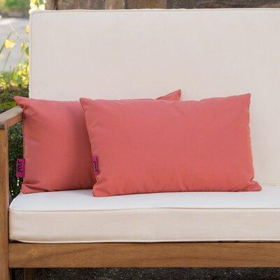 Mayne Water Resistant Rectangular Outdoor Lumbar Pillow Color: Coral