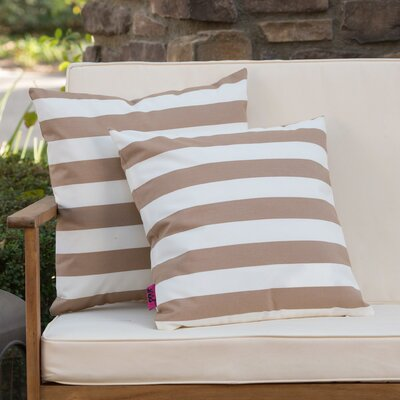 Mayne Square Striped Outdoor Throw Pillow Color: Brown/White