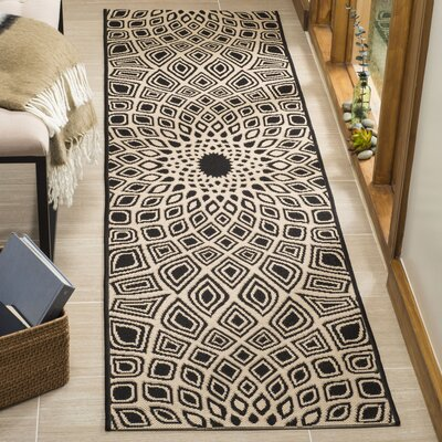 Mullen Black/Beige Indoor/Outdoor Area Rug Rug Size: Runner 23 x 8