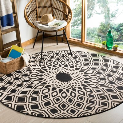 Mullen Black/Beige Indoor/Outdoor Area Rug Rug Size: Round 6'7