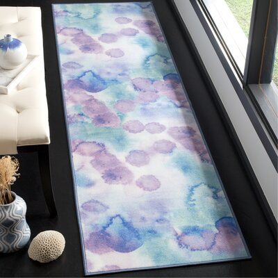 Darius Paint Brush Blue/Lavender Area Rug Rug Size: Runner 23 x 8