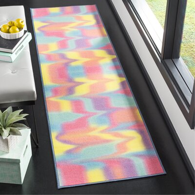 Dante Paint Brush Fuchsia/Yellow Area Rug Rug Size: Runner 23 x 8