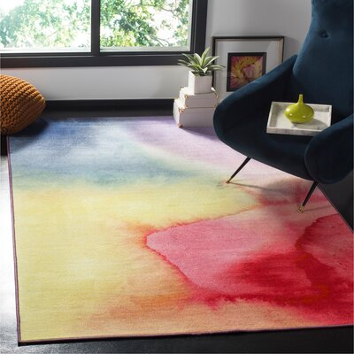 Daphine Paint Brush Fuchsia/Yellow Area Rug Rug Size: Rectangle 51 x 76
