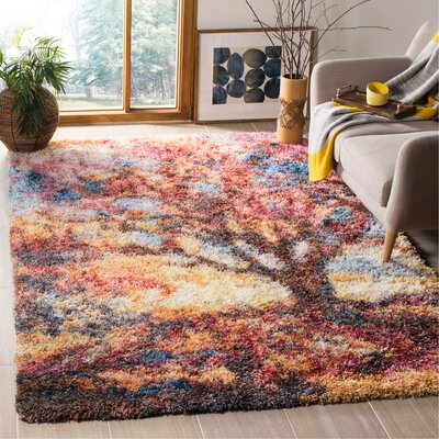 Delma Power Loom Rust/Blue Area Rug Rug Size: Rectangle 6 x 9