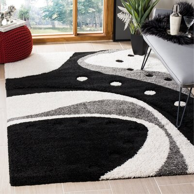 Stacie Black/Ivory Area Rug Rug Size: Rectangle 6 x 9