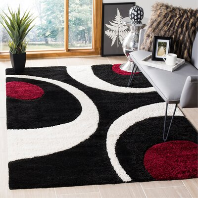 Stacie Black/Ivory Area Rug Rug Size: Rectangle 53 x 76