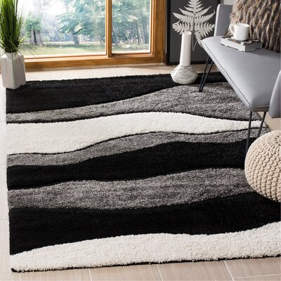 Stacie Gray/Black Area Rug Rug Size: Rectangle 53 x 76