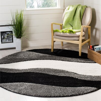 Stacie Gray/Black Area Rug Rug Size: Round 67