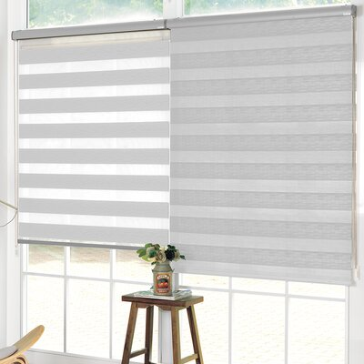 Pesce Day and Night Room Darkening Roller Shade Blind Size: 27W x 84L, Color: White